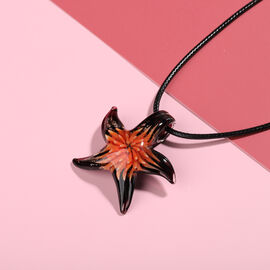 Orange Murano Glass Starfish Pendant with Chain (Size 24 with 2 inch Extender)