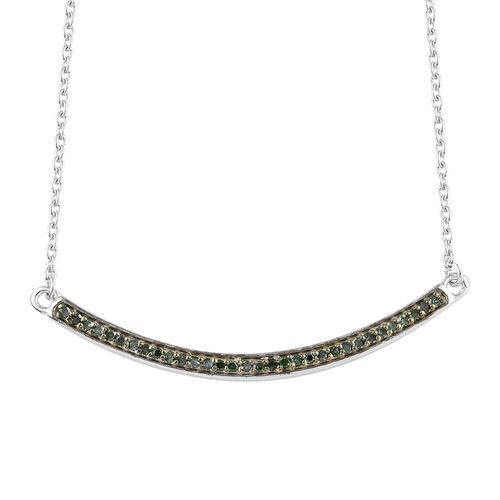 Green Diamond (Rnd) Necklace with Chain (Size 18) in Platinum and Green Overlay Sterling Silver 0.200 Ct.