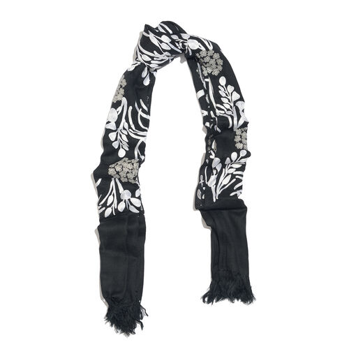 Limited Edition- Designer Inspired 100% Merino Wool Black and White Colour Floral and Leaves Embroidered Scarf (Size 170X70 Cm)