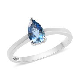 RHAPSODY 950 Platinum AAAA Santa Maria Aquamarine (Pear) Solitaire Ring 0.85 Ct, Platinum wt 4.02 Gm