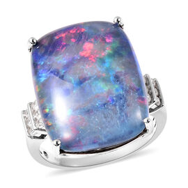 Collectors Edition Australian Boulder Opal (20x15mm), Natural Cambodian Zircon Ring in Rhodium Overl