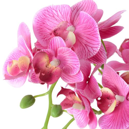 Home Decor Artificial Light Purple Butterfly Orchid Plant with Pot  (Size:50.5x12.5x12.5 Cm)