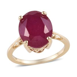 9K Yellow Gold African Ruby Solitaire Ring 7.00 Ct.