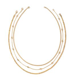 Set of 3 Chain Necklace in Gold Plated 20 Inch