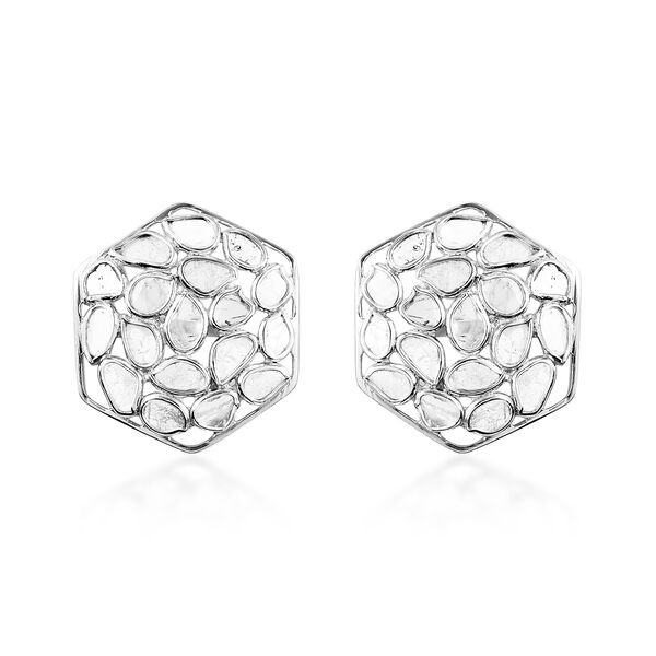 Artisan Crafted Polki Diamond Stud Earrings (with Push Back) in Platinum Overlay Sterling Silver 2.3