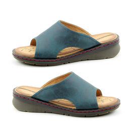 Heavenly Feet Womens Ginger Memory Foam Sandal in Ocean Blue