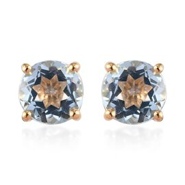 3 Carat Sky Blue Topaz Solitaire Stud Earrings in 14K Gold Plated Sterling Silver