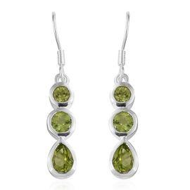Hebei Peridot (Pear and Rnd) Hook Earrings in Sterling Silver 2.500 Ct. Silver wt 3.00 Gms.