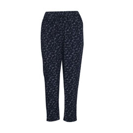 Pure and Natural Elasticated Tapered Printed Trousers in Navy L: 25 inches