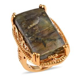 One Time Deal- Rare Size Labradorite (Bgt 30x15mm) Yellow Gold Plated Ring (Size L)  29.300 Ct.