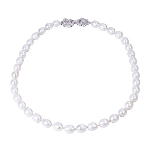 Freshwater White Pearl and Simulated Diamond Necklace (Size 20)  in Rhodium Overlay Sterling Silver