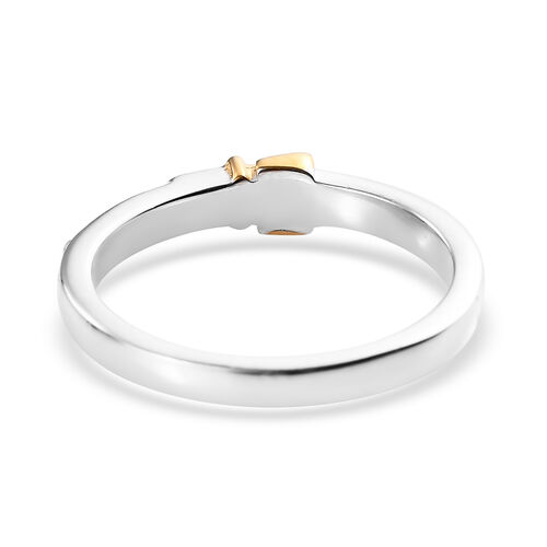 Platinum and Yellow Gold Overlay Sterling Silver Belt Buckle Band Ring