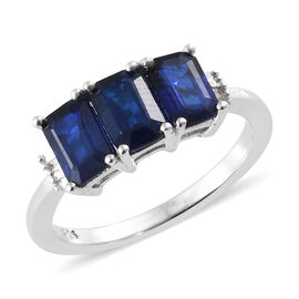 1.50 Ct Blue Spinel and Diamond Trilogy Ring in Platinum Plated Silver