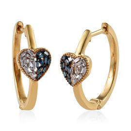Diamond (Bgt) Heart Hoop Earrings in 14K Gold Overlay Sterling Silver 0.200 Ct, Silver wt 5.50 Gms.