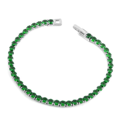 New York Close Out-Simulated Diopside (Rnd) Bracelet (Size 7.75) in Silver Plated