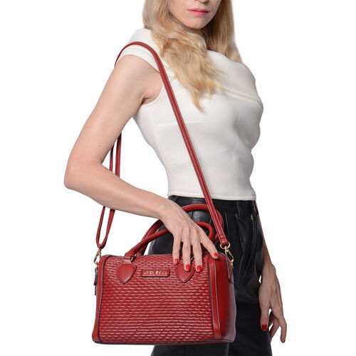 LOCK SOUL Red Colour Corn Grain Textured Satchel Bag with Detachable Shoulder Strap (Size 28x15x21 C