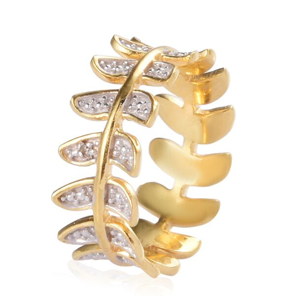 Diamond Feather Design Band Ring in 14K Gold Overlay Sterling Silver