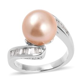 Golden South Sea Pearl (Rnd 10-10.5 mm), Diamond Ring in Rhodium Overlay Sterling Silver