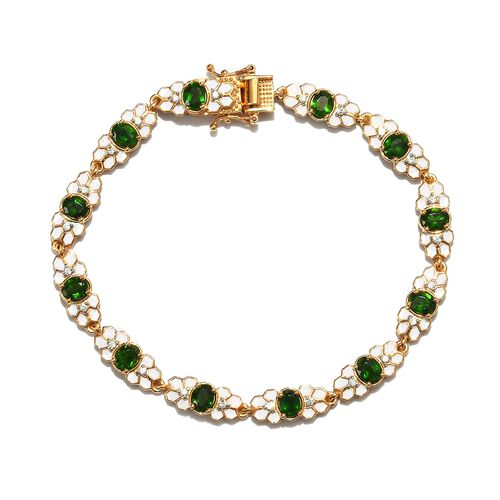 Russian Diopside and Natural Cambodian Zircon Enamelled Bracelet (Size 8) in 14K Gold Overlay Sterli