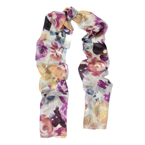 100% Mulberry Silk White, Purple and Multi Colour Handscreen Printed Scarf (Size 180x50 Cm)