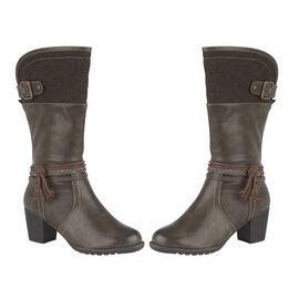 Lotus Brown Textile Jamilla Heeled Mid-Calf Boots
