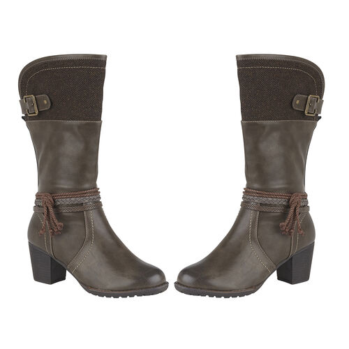 Lotus Brown Textile Jamilla Heeled Mid-Calf Boots