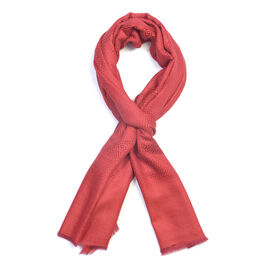 100% Cashmere Wool Red Colour Geometric Pattern Scarf (Size 200x70 Cm)