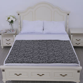 Embossed Short Plush with White Sherpa Double Layer Blanket - Grey
