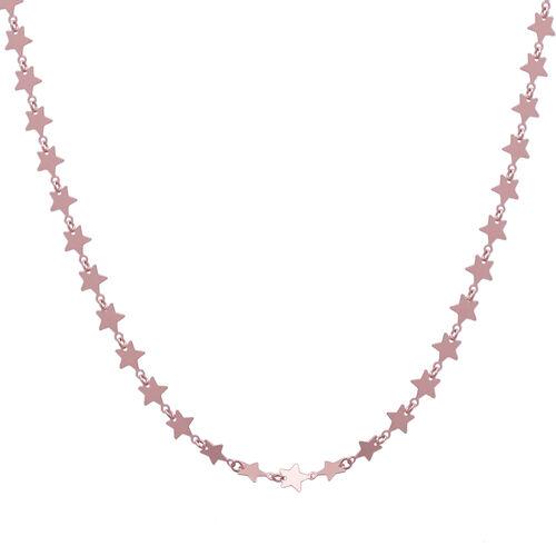 Italian Made - Designer Inspired Rose Gold overlay Sterling Silver Star Link Chain (Size - 18)