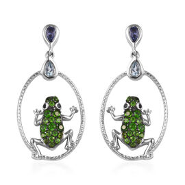 Tanzanite (Pear), Sky Blue Topaz, Russian Diopside and Boi Ploi Black Spinel Frog Earrings (with Pus