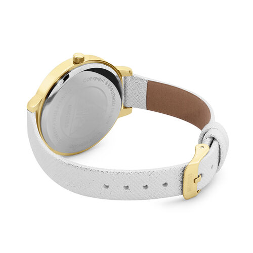 MISSGUIDED Watch with Gold Case, Round Graduated Gold to White Sunray Dial and Silver Metallic Strap