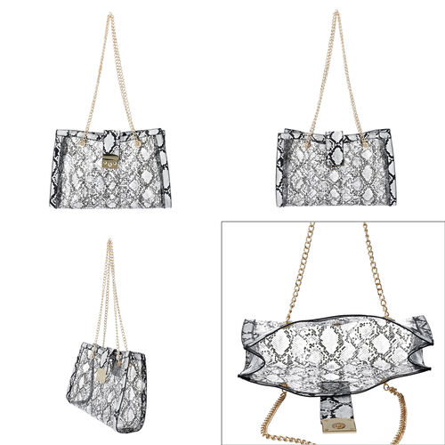 New Arrival- 2 Piece Set Python Skin Pattern Tote Bag (Size 35x10x24cm) with Chain Strap and Pouch Bag (Size 23x8x18cm) - Black and White