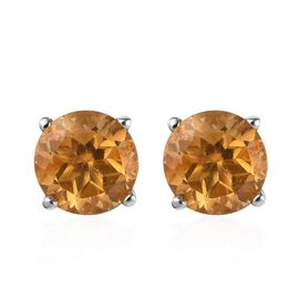 AA Citrine Stud Earrings (with Push Back) in Platinum Overlay Sterling Silver 0.75 Ct.