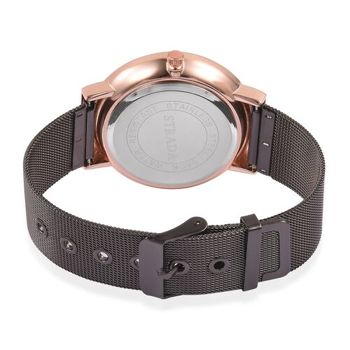STRADA Japanese Movement Black Sunshine Dial Water Resistant Watch in Dual Tone with Chain Strap