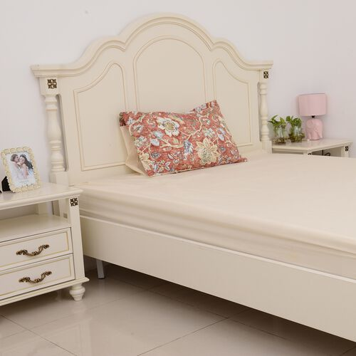 3 Pcs Cream Colour Fitted Sheet (Size 90x190 Cm), Duvet Cover (Size 140x200 Cm) and 1 Pillow Case (Size 50x75 Cm) Cream, Red and Multi Colour