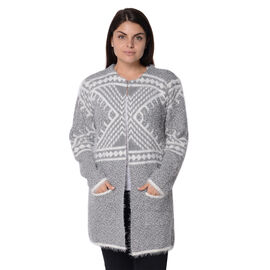 Soft and Smooth Winter Africa Addio Pattern Sweater Coat with 2 Pockets (Size 53x81 Cm) - Grey and W