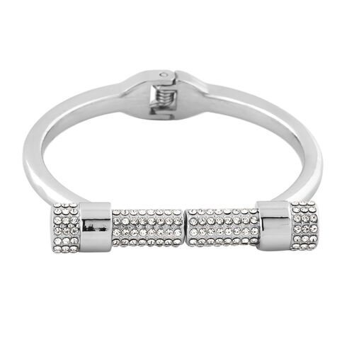 Designer Inspired- White Austrian Crystal Bangle (Size 6.5)