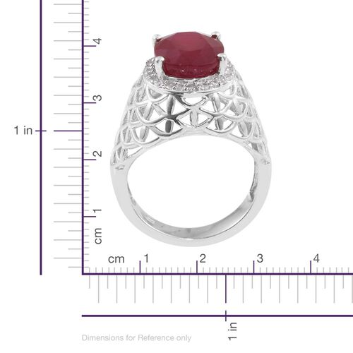 Limited Available- Rare Size African Ruby (Ovl 8.75 Ct), Natural Cambodian Zircon Ring in Platinum Overlay Sterling Silver 9.250 Ct.