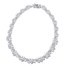 Lustro Stella Simulated Diamond Necklace (Size 18) in Rhodium Overlay Sterling Silver, Silver wt. 38