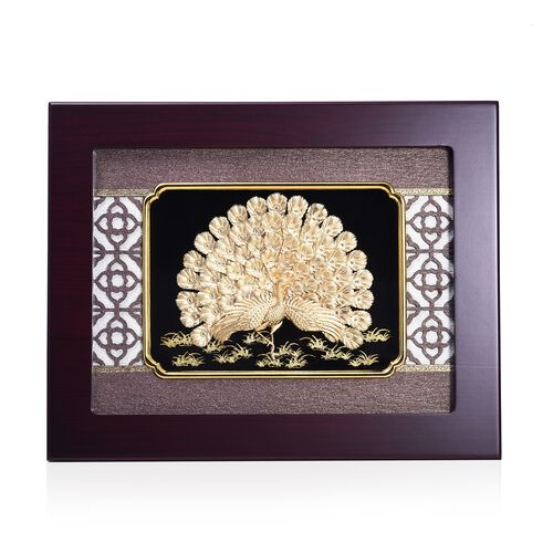 Home Decor - 24K Gold Plated Peacock Wooden Frame (Size 27x34 Cm)