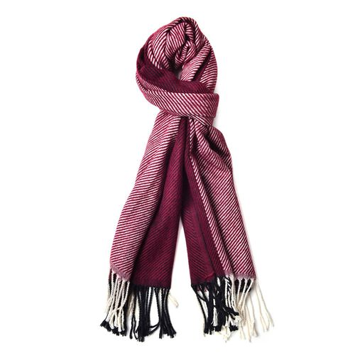 Designer Inspired Wine Red and White Colour Stripes Pattern Scarf with Tassels (Size 180X65 Cm)