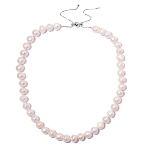 Fresh Water White Pearl Adjustable Necklace (Size 16 to 22 ) in Rhodium Overlay Sterling Silver