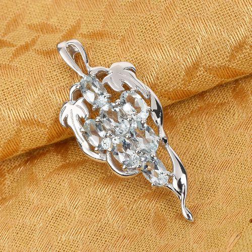 AA Santa Teresa Aquamarine Grape Bunch Pendant in Platinum Overlay Sterling Silver 1.15 Ct.