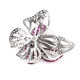 Lustro Stella - Mystery Setting Simulated Ruby and Simulated Diamond Butterfly Brooch in Rhodium Overlay Sterling Silver