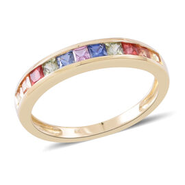 One Time Deal-9K Yellow Gold AA Rainbow Sapphire (Sqr) Half Eternity Band Ring 1.250 Ct.