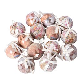 Set of 14 - Christmas Decoration Shatterproof Balls with Ribbons in the Gift Box (Dia 7.5 Cm) - Pink