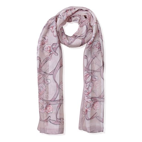 100% Mulberry Silk Brown, Burgundy and Multi Colour Rose Flower Pattern Scarf (Size 170x53 Cm) (Weig