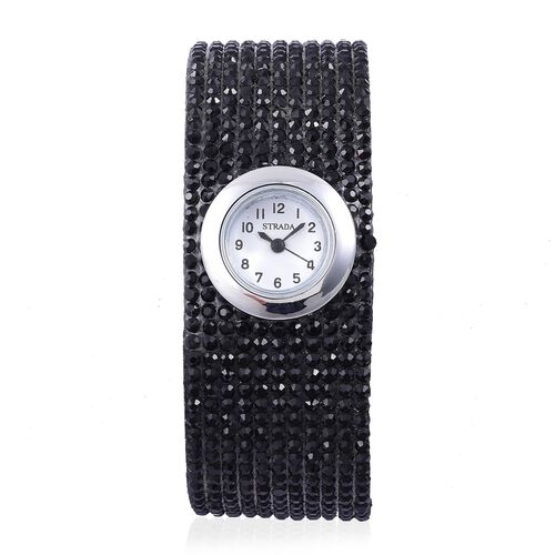STRADA Japanese Movement White Dial Water Resistant Watch in Silver Tone with Stainless Steel Back and Black Austrian Crystals Embellished Velvet Strap