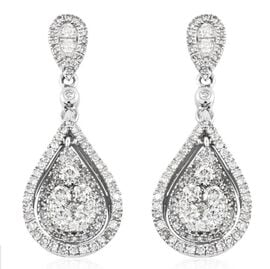 NY Close Out Deal- 14K White Gold Diamond (I2-I3/G-H) Dangle Earrings (with Push Back) 1.00 Ct.