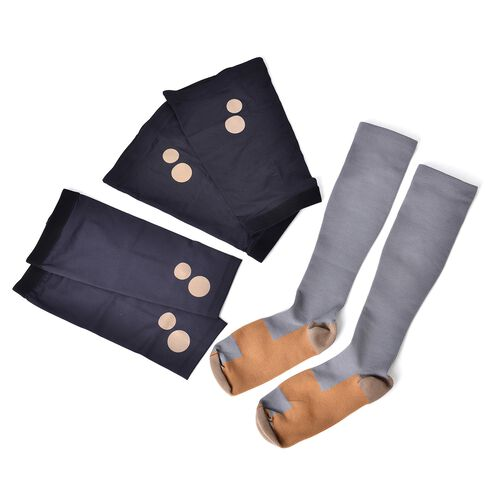 Anti Fatigue Compression Copper Infused Socks with Elbow and Knee Protect Sleeves - Grey (Extra Large)